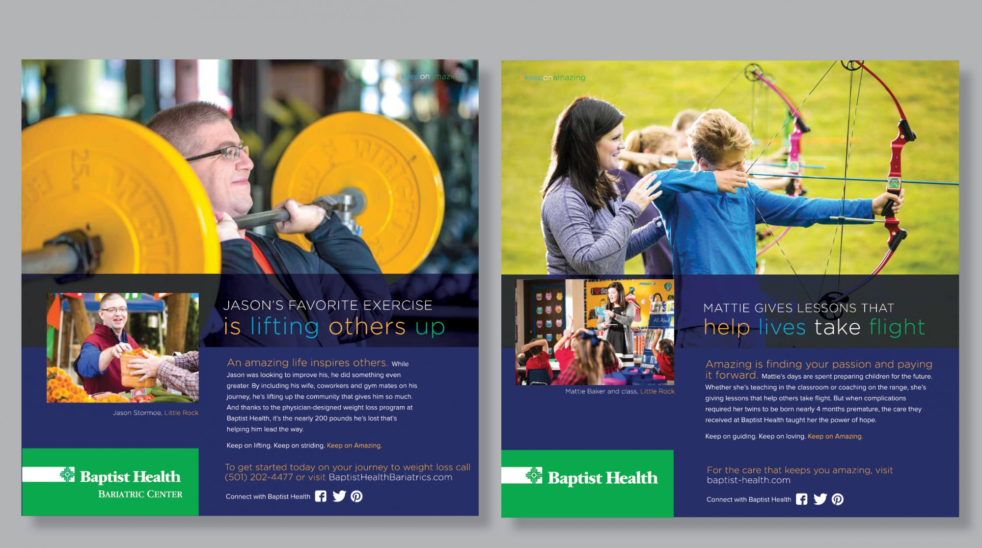 Examples of Baptist Health's Keep on Amazing Print Advertising Campaign designed by Stone Ward