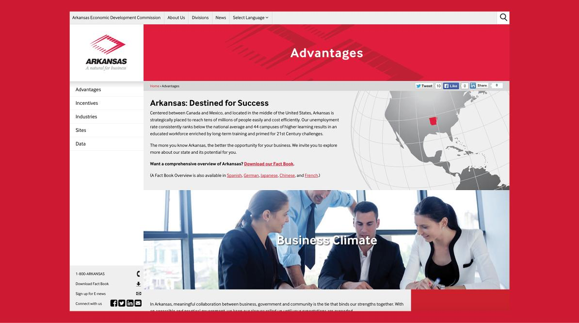 Arkansas Economic Development Commission New Website - Focus on Colors