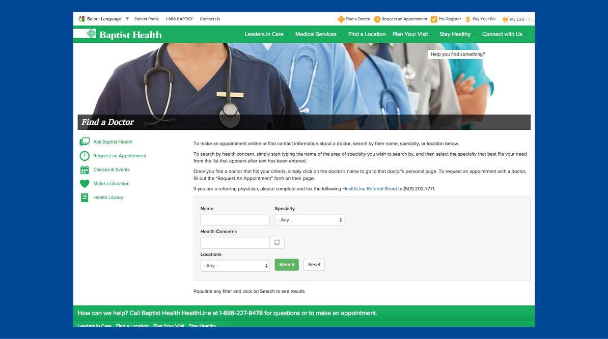 Baptist Health Website Page Screenshot #3