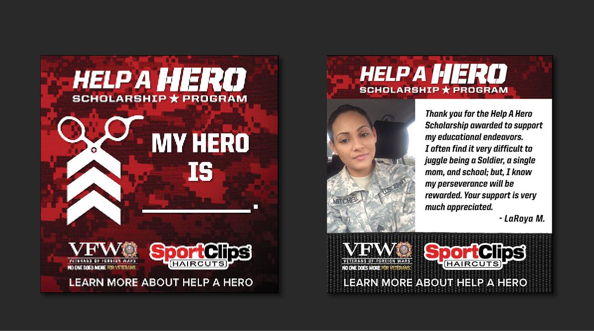 Sport Clips Help A Hero Social Media - Scholarships Campaign