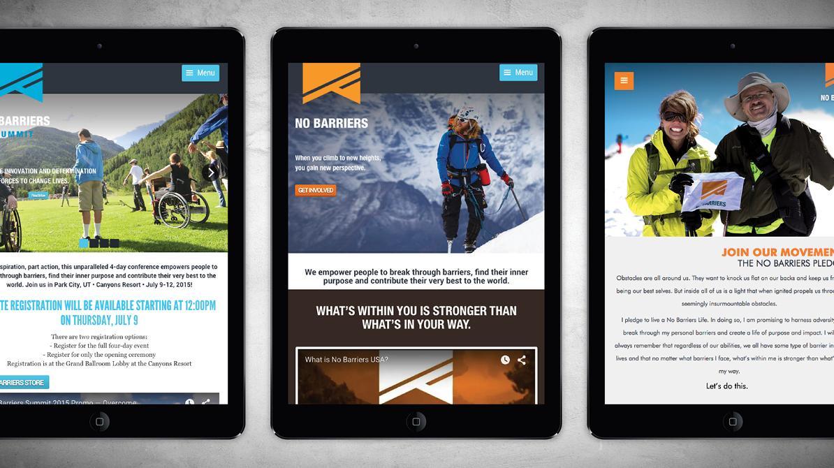 No Barriers Website Screenshots