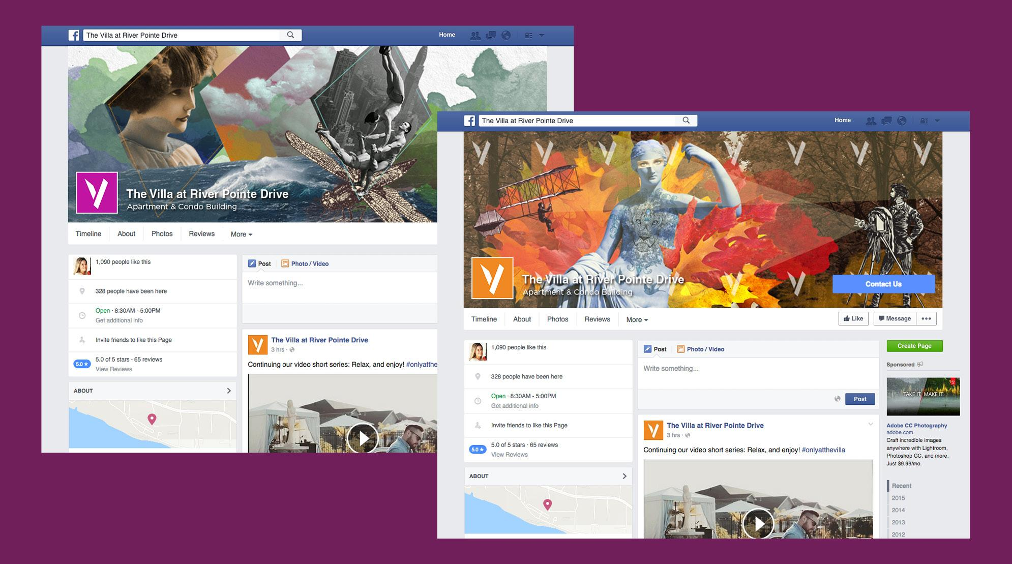 The Villa Social Media  - Facebook Page Screenshots