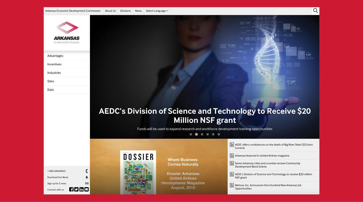 Arkansas Economic Development Commission New Website - Easy Navigation