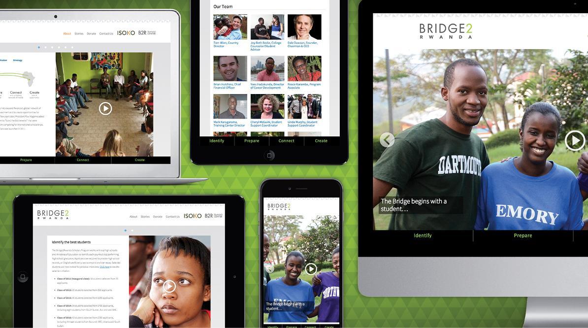 Bridge2Rwanda Website Snapchots