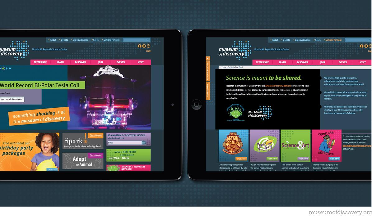 Museum of Discovery Website Front Page Screenshots
